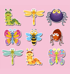 Sticker design with cute bugs and insects vector