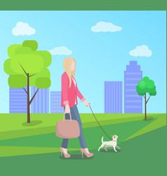 Stylish young woman walking in park with small dog vector