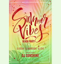 Summer vibes beach party flyer vector