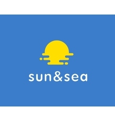Sun sea travel logo Universal modern vector image