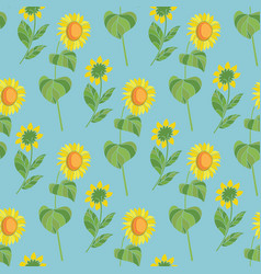 sunflower floral seamless pattern vector image