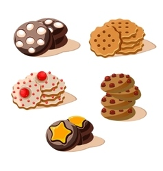 Tasty cookies set of cartoon icons vector