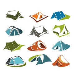 Tent icons camping site mountain adventure vector
