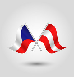 Two crossed czech and austrian flags vector