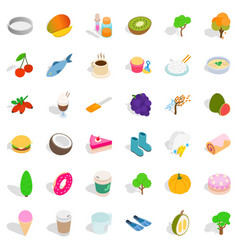 Vegetarian food icons set isometric style vector