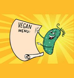 Vegetarian menu announces cucumber vector