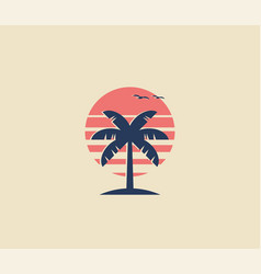 vintage styled palm tree logo or icon design with vector image