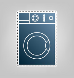 Washing machine sign blue icon with vector