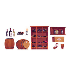wine bottles and barrels in winery cellar vector image