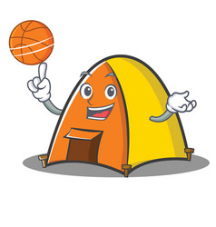 With basketball tent character cartoon style vector