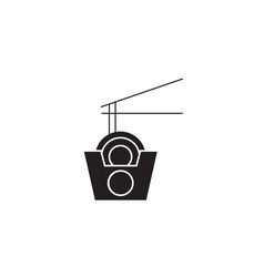 wok noodles box black concept icon wok vector image