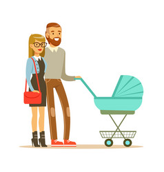 Young couple walking with they newborn baby in vector