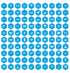 100 fly icons set blue vector