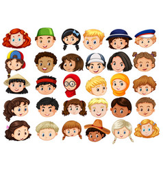different faces of happy children vector image