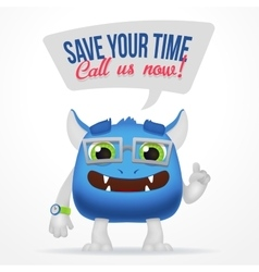 Funny Blue Cartoon alien monster Save your time vector image