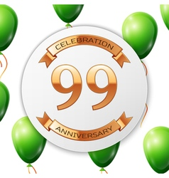 Golden number ninety nine years anniversary vector image