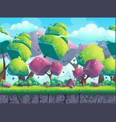 Seamless cartoon natural landscape with futuristic vector image vector image