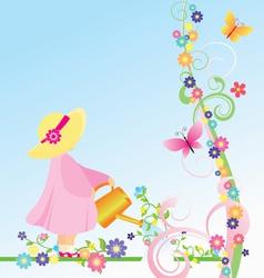watering flowers vector image vector image