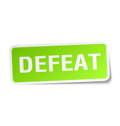 Defeat square sticker on white vector