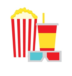 Popcorn Box Cola and 3D Glasses vector image vector image