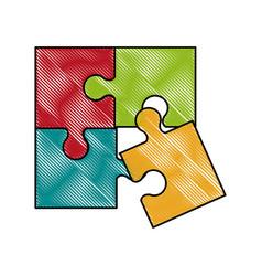puzzle pieces symbol vector image vector image