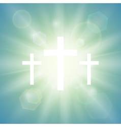 Religious background with three crosses vector image
