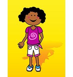 Black little girl over yellow vector image