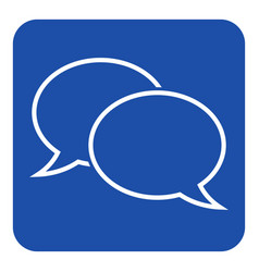blue white sign - two outline speech bubbles icon vector image