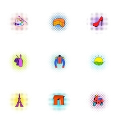 Country of France icons set pop-art style vector image vector image