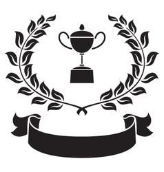 graphic trophy olive leaf and ribbon vector image