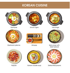 korean cuisine flat collection of dishes on vector image vector image