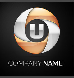 letter u logo symbol in the colorful circle on vector image