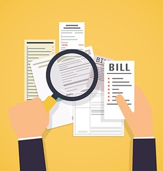Paying bills Hands holding bills and magnifying vector image
