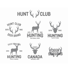 Set of vintage hunting and deer logo and label vector image