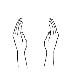 two hands supporting concept giving hand sign vector image vector image