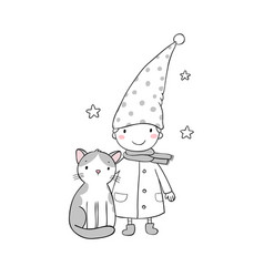 a cute little gnome a kitten and stars funny vector image vector image