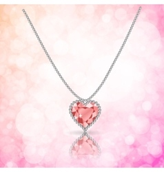 Beautiful gemstone red ruby heart vector image
