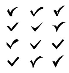 Confirm tick mark icons set vector image