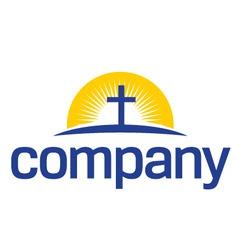Cross with sun logo vector