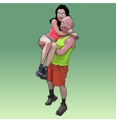funny cartoon man holding a woman on his hands vector image vector image