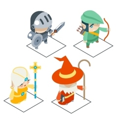 Isometric Fantasy RPG Game Character Icons vector image