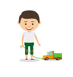 little boy shows his toy car vector image vector image