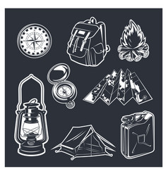 set of camping equipments vector image