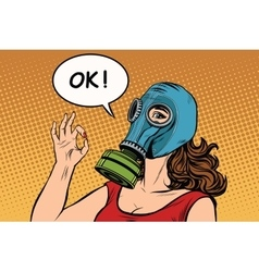 Young woman in gas mask okay gesture vector image