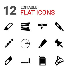 12 stationery icons vector