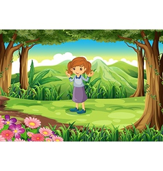 A cute little lady at the woods vector