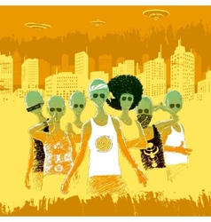 Aliens Teenagers In The City vector image
