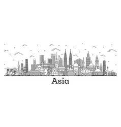 asian landscape outline famous landmarks in asia vector image