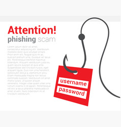 attention phishing scam icon warning poster that vector image