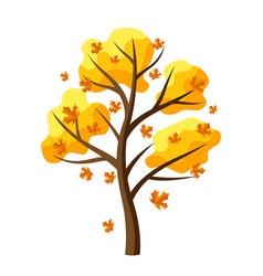 autumn tree with falling leaves vector image